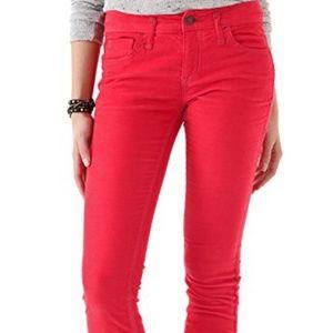 Free People Red Corduroy Skinny Jeans W 25